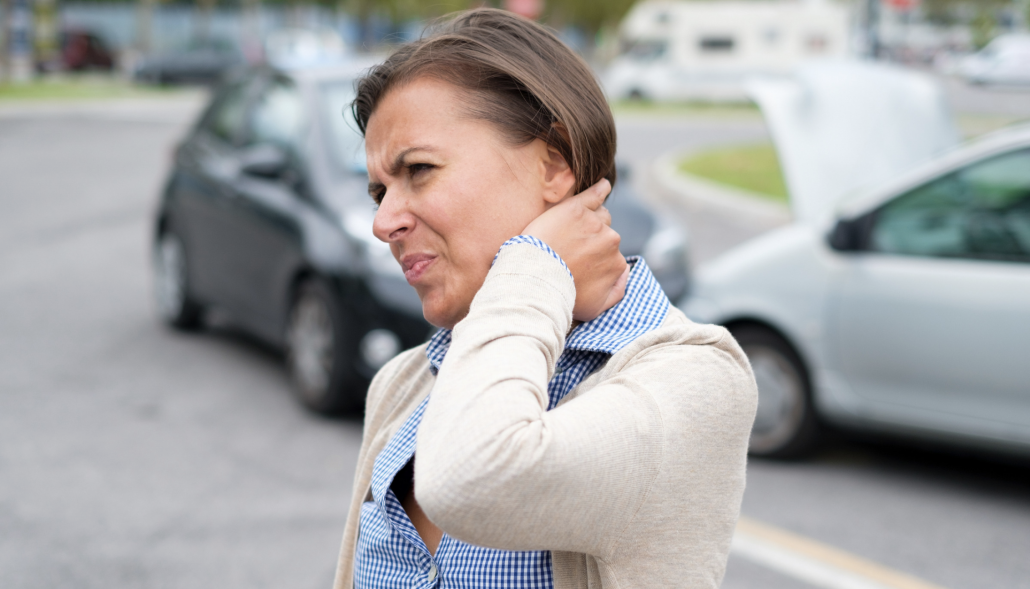 Woman suffers muscle strains after a car accident